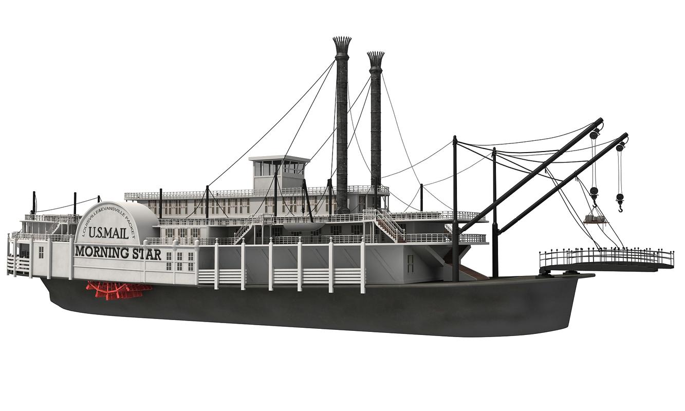 3d model historic paddle steamer river