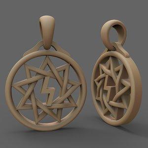 3D jewellery silver pendant star