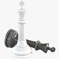 3D chessmen king chess model