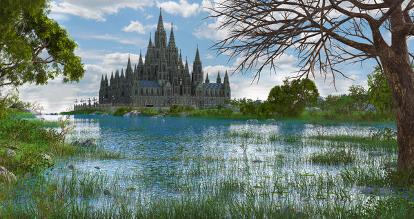 3D landscape fantasy cathedral model