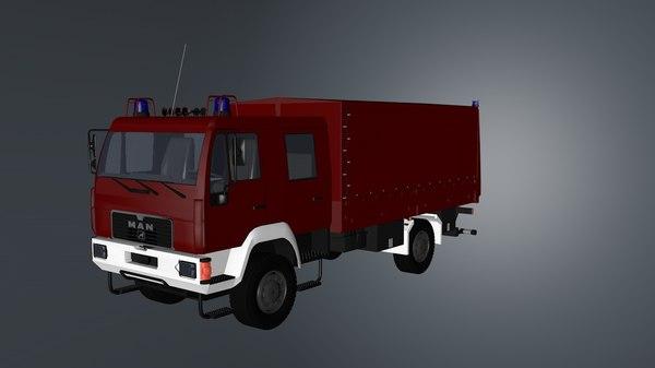 3D man firetruck model