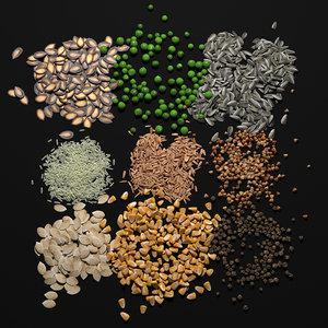 3D cereals seeds model