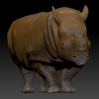 white rhinoceros l203 animate 3D model