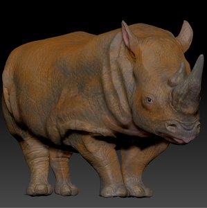 3D white rhinoceros l200 animate