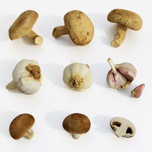 shiitake mushrooms garlics 3D