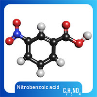 3D c7h5no4 molecule nitrobenzoic acid model