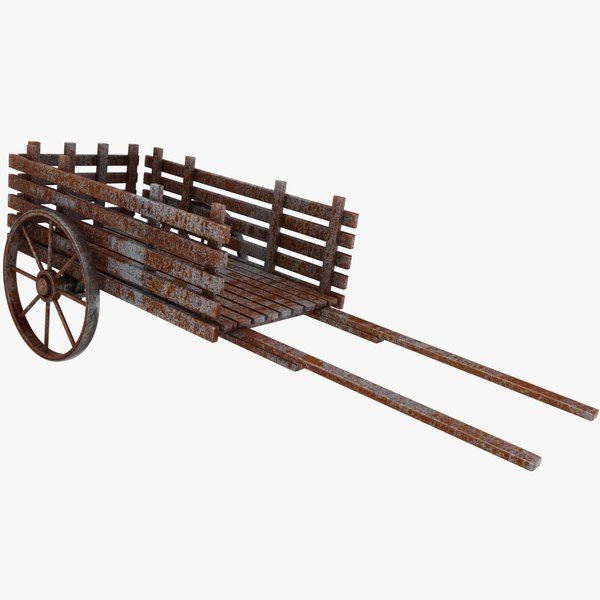 3D model wooden pull cart old