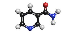3D c6h6n2o molecule nicotinamide model