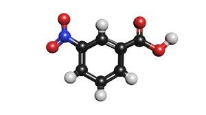 3D c7h5no4 molecule nitrobenzoic acid model