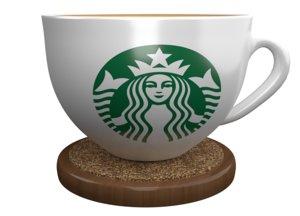 3D starbucks cup wood coaster