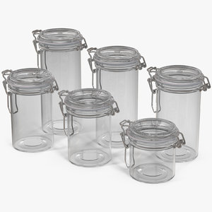 3D model glass jars airtight lid