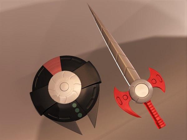 daltanious weapons sword shield 3D model