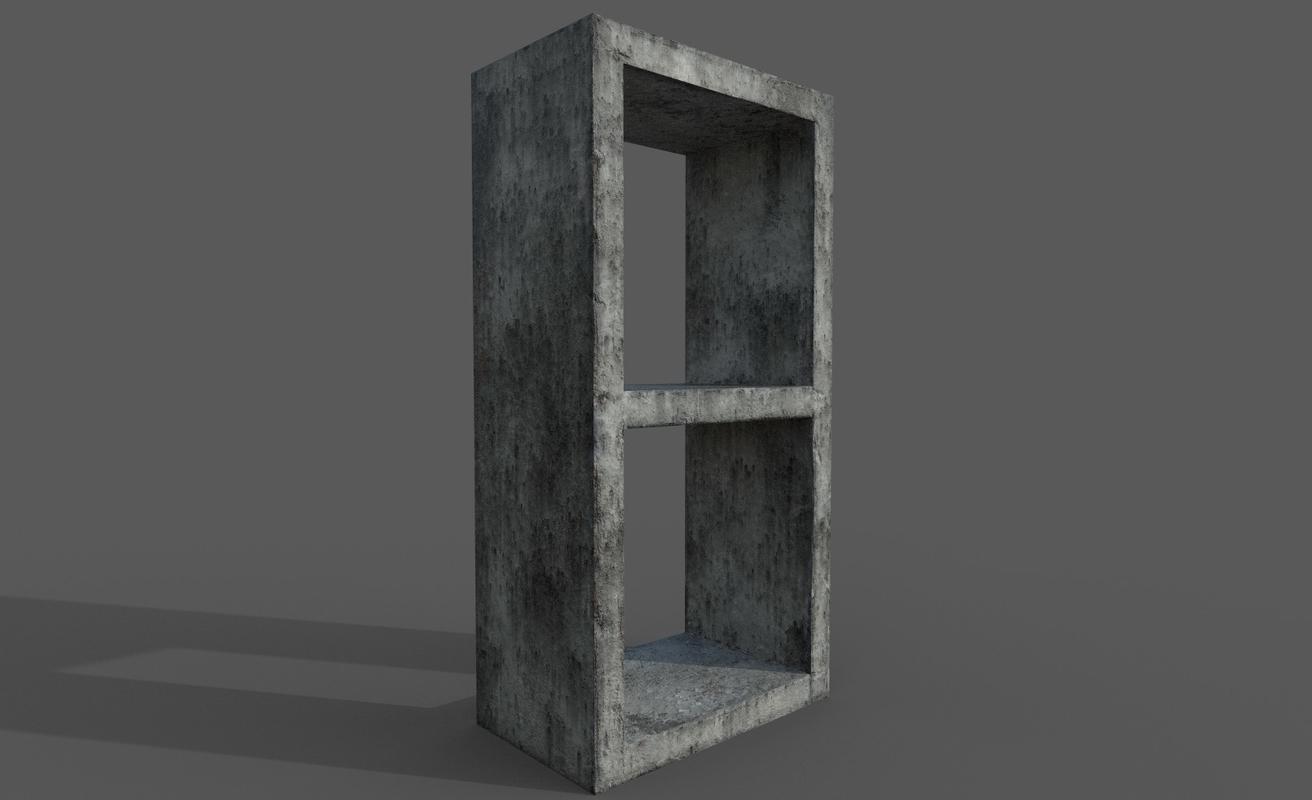 concrete wall stone 3D