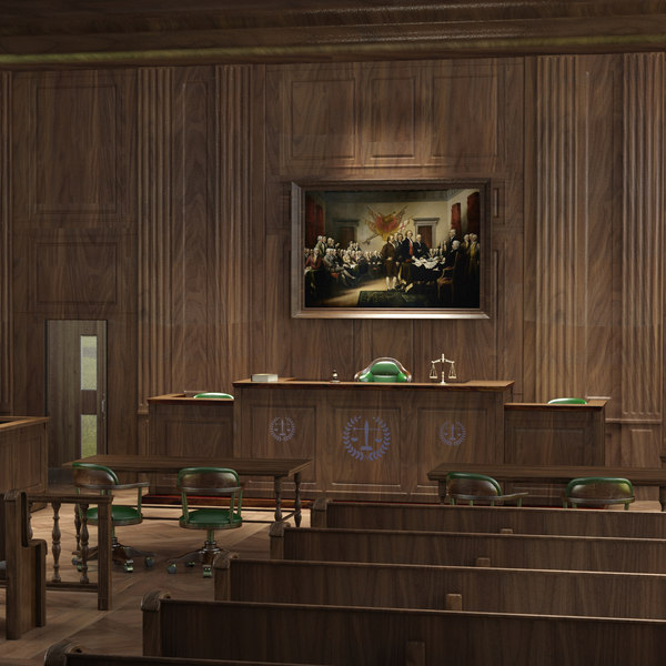 courtroom scene 3D model