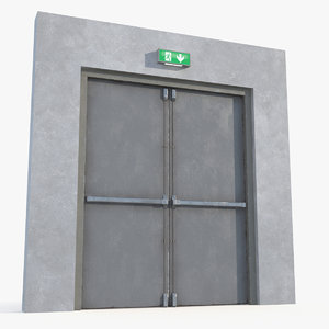 exit emergency double door 3D model
