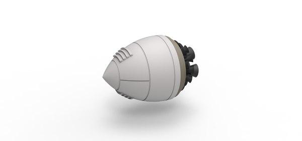 diecast engine rocket 3D