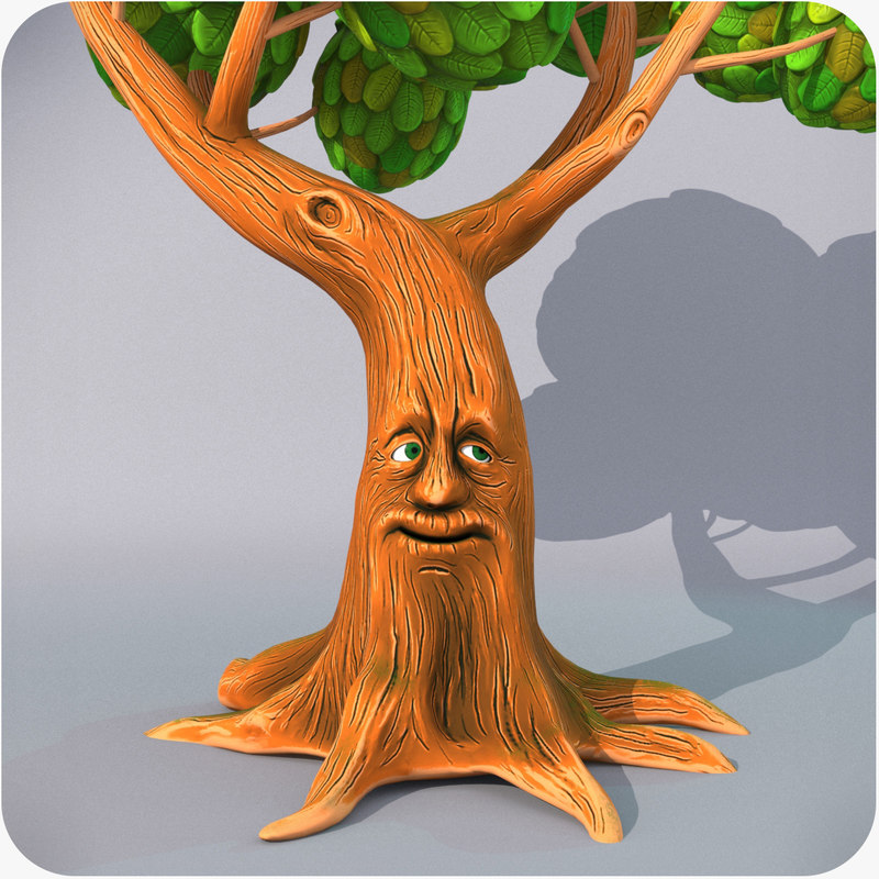 cartoon talking tree rigged model