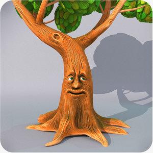cartoon talking tree rigged model