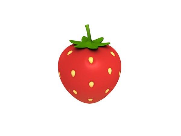 strawberry cartoon 3D model