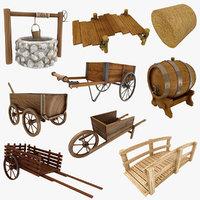 3D medieval wooden cart model
