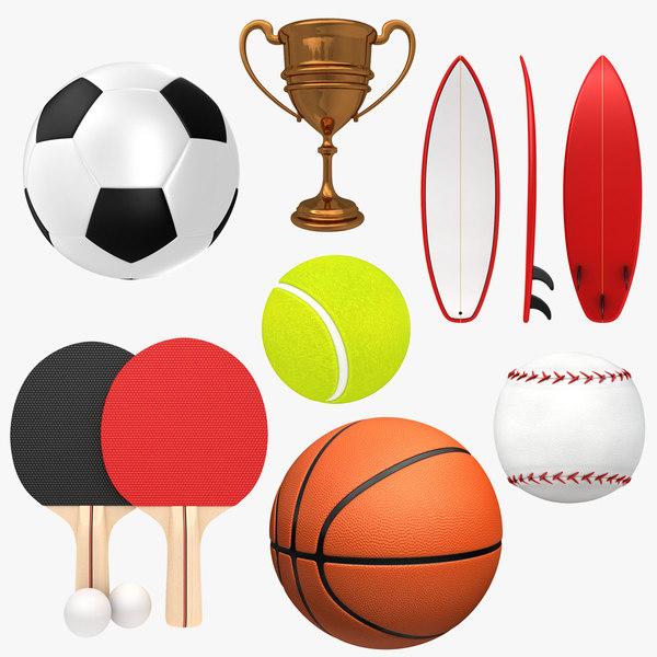 3D sport basketball soccer model