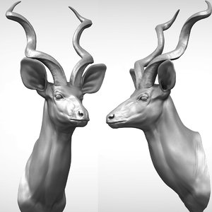3D greater kudu head sculpture model