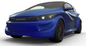 generic printed electric car 3D model