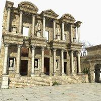 3D celsus library ephesus ruins