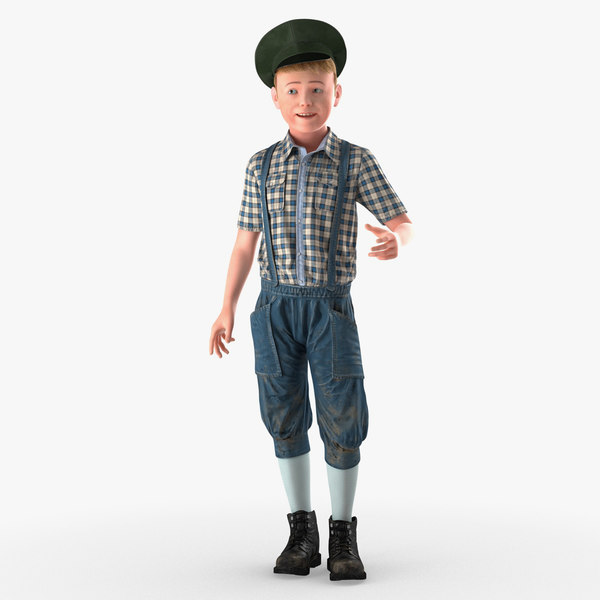 3D realistic child boy person standing