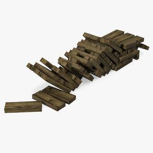 wooden bricks wood games 3D model