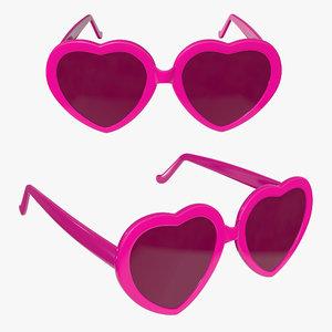 glasses sun heart model
