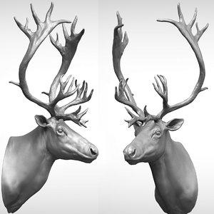3D reindeer head