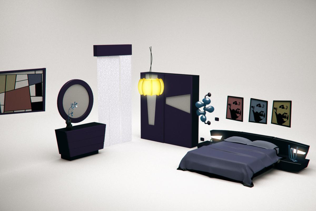 3D model bed cartoon