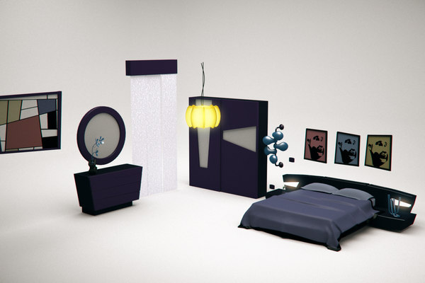 3D model bed cartoon