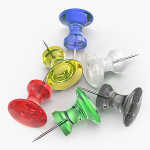 3D model push pins transparent colored