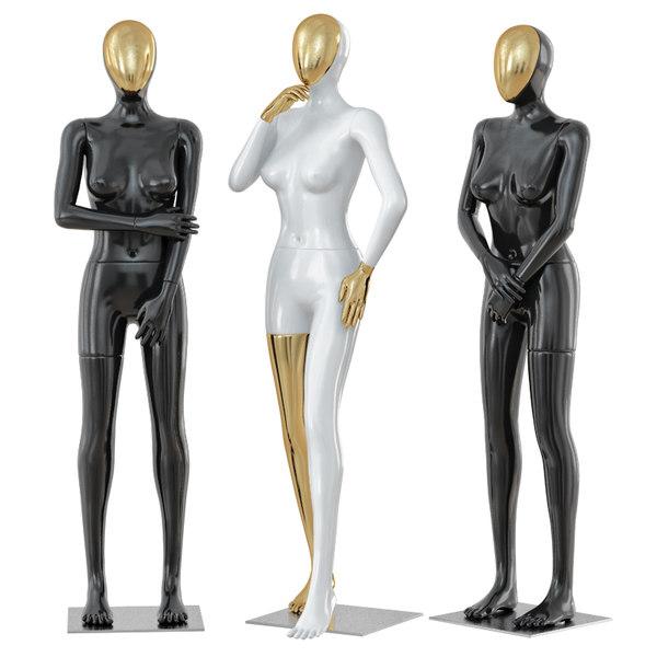 female mannequin golden face 3D model
