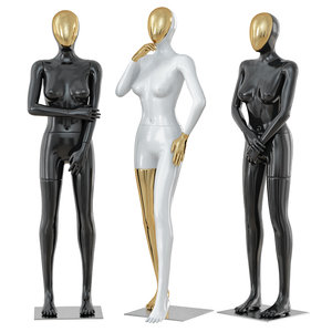female mannequin golden face 3D model