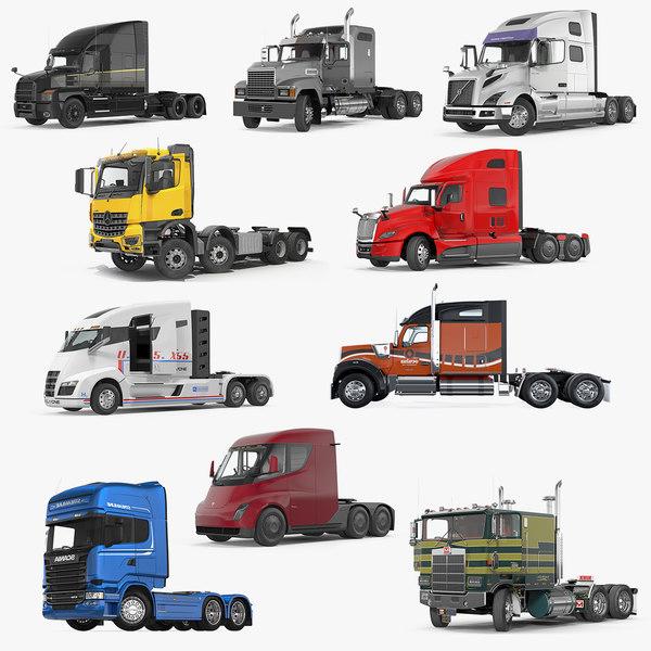 3D rigged semi trucks