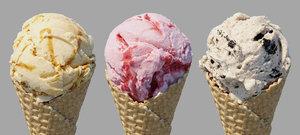 3 ice cream waffle 3D model