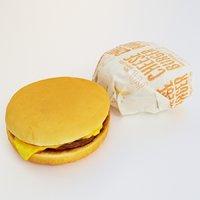 3D cheeseburger packaged model