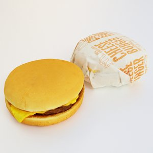 3D cheeseburger packaged model