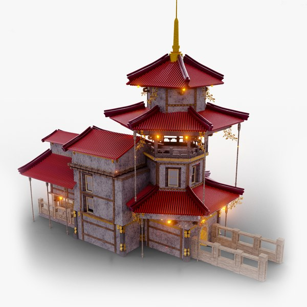 3D building chinese house