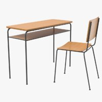 3D model school desk chair table