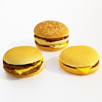 set burger cheeseburger 3D model
