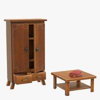 3D cupboard table
