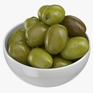 3D bowl green olives