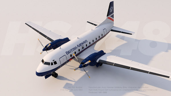 3D avro hawker siddeley hs
