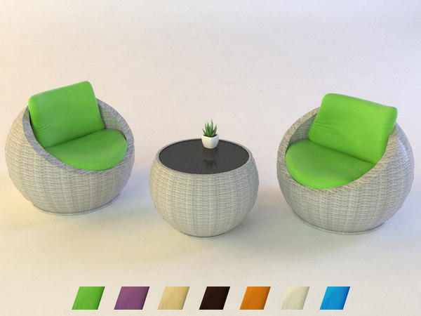 table chair plant 3D