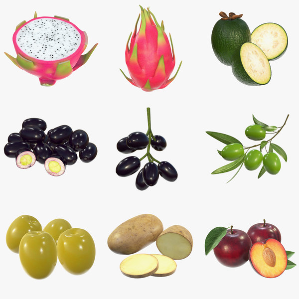 dragonfruit feijoa fruit plums 3D model