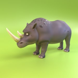 3D cartoon rhinoceros